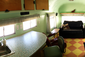 50's style vintage lounge area in our restored Silver Streak Trailer - Casa de los Desperados