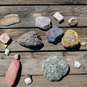 Rock collection from the grounds of Casa de los Desperado