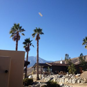 A blimp flew right over the lodge near Palm Springs at Casa de los Desperado