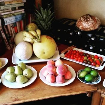 Fresh fruit and homemade bread left out for guests to munch on throughout the day