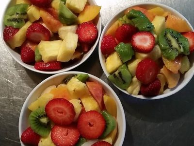 Fruit bowls to start breakfast