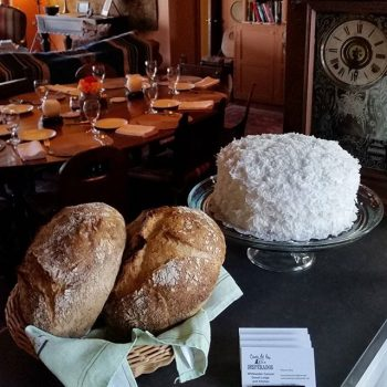 Homemade bread and coconut cake for dinner party at Casa de los Desperados near Palm Springs