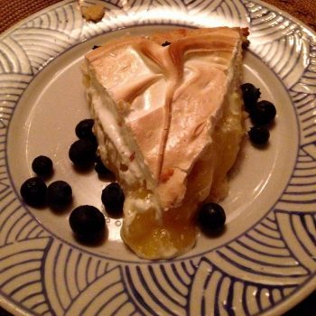 Lemon meringue pie with blueberries