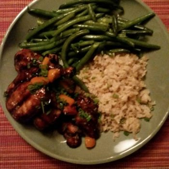 Mongolian bbq organic chicken thighs with candied kumkuats, brown rice and green beans by Chef Wayne King at Casa de los Desperados
