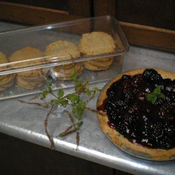 Hawaiian sugar cookies and blackberry pie for dessert